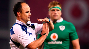 Referee Jaco Peyper during the Autumn International match between Ireland and New Zealand Photo: Stephen McCarthy/Sportsfile