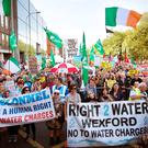 Protestors gather on St Stephen's Green during the Anti Water charges protest in Dublin. Photo: Tony Gavin