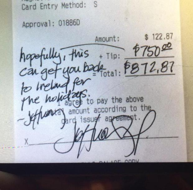 The receipt showing the kind message and generous tip
