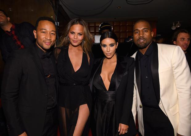 John Legend, Chrissy Teigen, Kim Kardashian and Kanye West attend John Legend Celebrates His Birthday And The 10th Anniversary Of His Debut Album