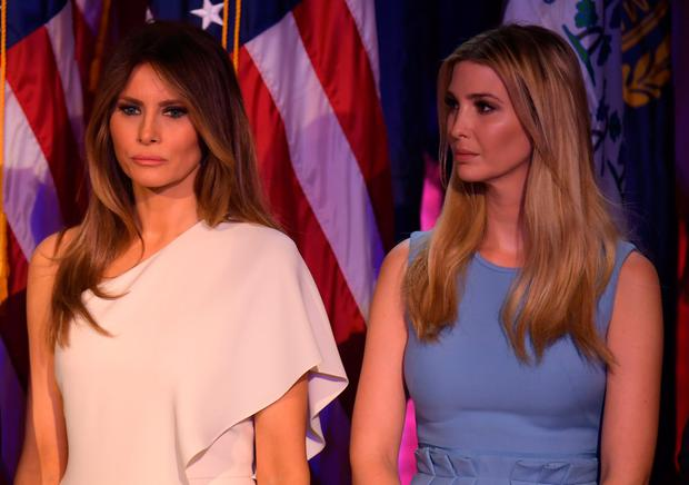 Melania Trump (L) and Ivanka Trump look on as Republican presidential elect Donald Trump speaks during election night at the New York Hilton Midtown in New York on November 9, 2016. / AFP / JIM WATSON (Photo credit should read JIM WATSON/AFP/Getty Images)