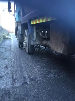 The bike underneath the truck (Photo: Independent.ie)