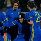 FC Rostov's Christian Noboa celebrates with his team mates after scoring a goal. REUTERS/Maxim Shemetov
