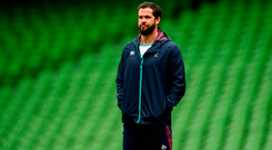 Defence coach Andy Farrell will be keen for Ireland to reduce their try concession rate this weekend. Photo by Piaras Ó Mídheach/Sportsfile