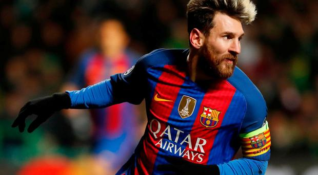 Barcelona's Lionel Messi celebrates scoring for Barca