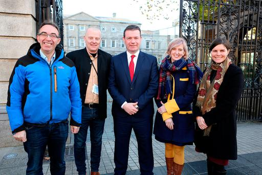 Labour Party Tipperary TD Alan Kelly, centre, with, from left, Seamus O'Hara, of the Carlow Brewing Company, Cuilan Loughnane, of White Gypsy Brewery, Grainne Walsh, of Metalman, and Sally Anne Cooney, of the Boyne Distillery. Photo: Tom Burke