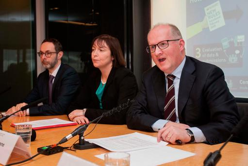 (L to R) Cyril Roux Deputy Governor (financial regulation) Central Bank Sharon Donnery Deputy Governor Central Banking Philip R Lane Governor Cenral Bank during the announcement of the Outcome of Review of Mortgages at the Central Bank in Dublin's City Centre. Photo: Gareth Chaney Collins