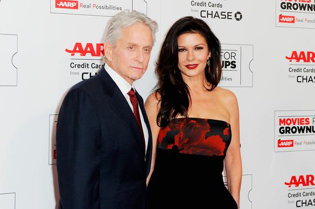 Actors Michael Douglas and Catherine Zeta-Jones attend AARP's 15th Annual Movies For Grownups Awards at the Beverly Wilshire Four Seasons Hotel on February 8, 2016 in Beverly Hills, California. (Photo by Joshua Blanchard/Getty Images)