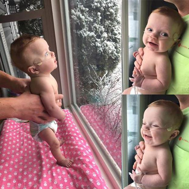 Clara Ray sees snow for the first time CREDIT: FACEBOOK / JOHANNA MORTON