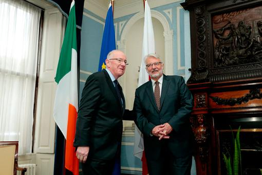 The Minster for Foreign Affairs & Trade, Mr. Charlie Flanagan TD, and the Polish Foreign Minister Witold Waszczykowski at Iveagh House. Picture: MAXWELLPHOTOGRAPHY.IE