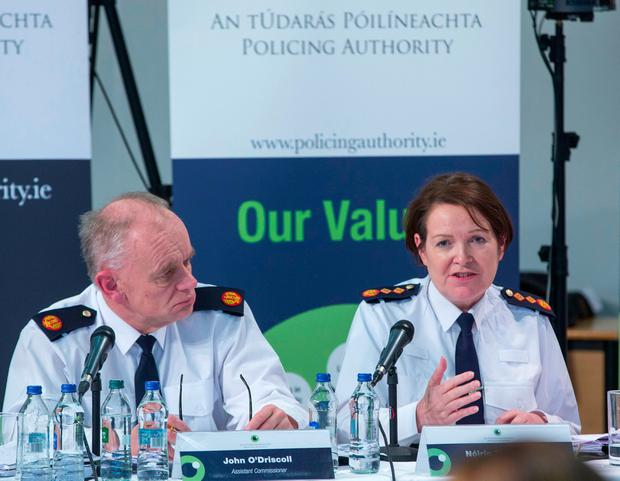 Garda Commissioner, Noirin O'Sullivan and Assistant Commissioner, John O'Driscoll pictured during The Policing Authority Public Meeting at Griffith College PIC COLIN O'RIORDAN