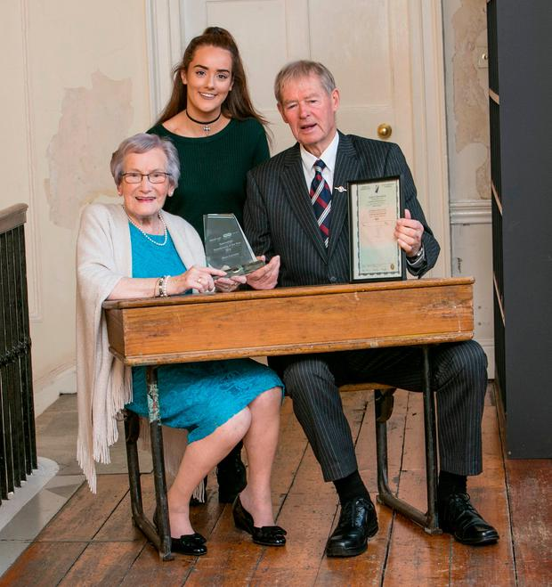 "Grand Parent of the Year Moya Connelly (94) pictured with Her Grand Daughter Hannah Connelly (18) and Micheal O""Muircheartaigh ."
