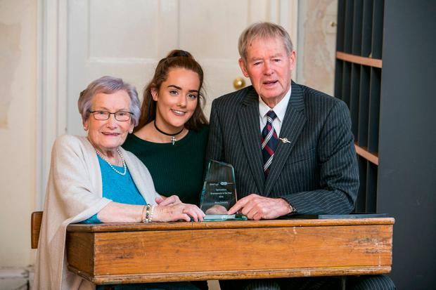 """Grand Parent of the Year Moya Connelly (94) pictured with Her Grand Daughter Hannah Connelly (18) and Micheal O""""Muircheartaigh ."""