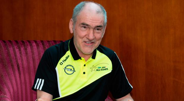 Tyrone manager Mickey Harte speaking to members of the media during the All-Stars tour in Dubai. Photo: Sportsfile