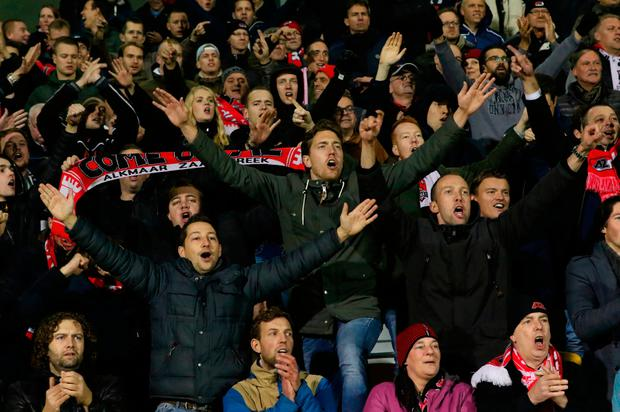 AZ Alkmaar fans cheer in the crowd. Photo: Getty Images