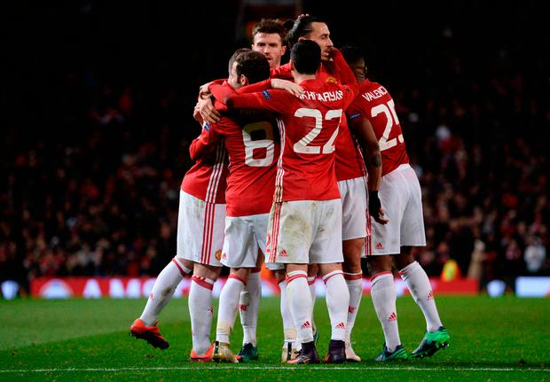 Manchester United players celebrate. Photo: Getty Images