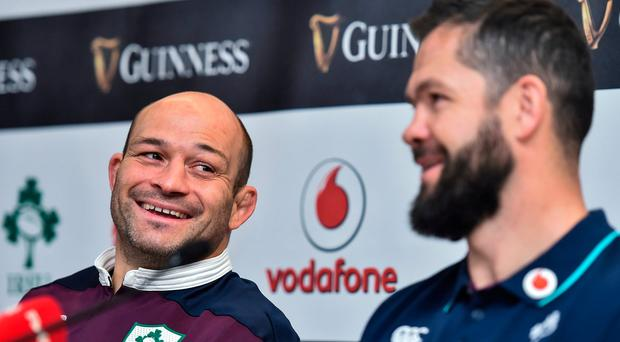 Ireland captain Rory Best, left, and defence coach Andy Farrell during a press conference at the Aviva Stadium in Dublin. Photo by Ramsey Cardy/Sportsfile