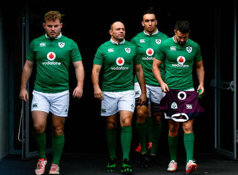 Ireland players, from left, Finlay Bealham, Rory Best, Ultan Dillane and Conor Murray ahead of the captain's run at the Aviva Stadium in Dublin. Photo by Ramsey Cardy/Sportsfile