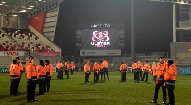 Stewards on the pitch after the Guinness PRO12 Round 9 match between Ulster and Zebre was called off due to a frozen pitch at the Kingspan Stadium in Belfast. Photo by Oliver McVeigh/Sportsfile