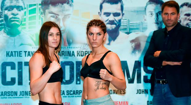 Katie Taylor and Karina Kopinska square off