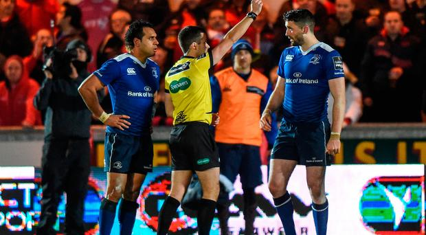 Barry Daly of Leinster is shown a red card by match referee Sean Gallagher