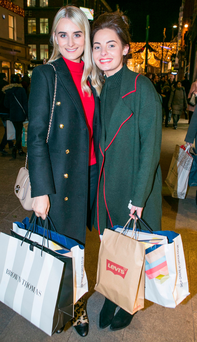 Lauren Carvill and Catherine Hughes, from Warrenpoint in County Down, on Grafton Street Photo: Kyran O'Brien