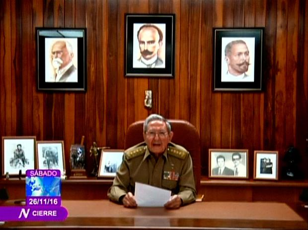 Cuba's President Raul Castro announces the death of his brother, revolutionary leader Fidel Castro, in a still image from government television in Havana, Cuba November 26, 2016. Cuban Television via Reuters TV