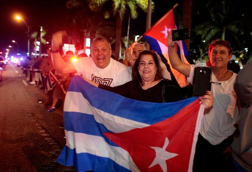 People celebrate after the announcement of the death of Cuban revolutionary leader Fidel Castro, in the Little Havana district of Miami, Florida, U.S. REUTERS/Javier Galeano