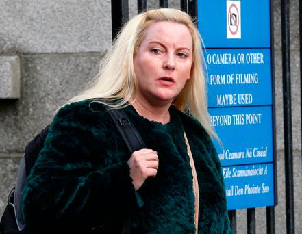 Carol-Ann Flanagan, a Dublin City Council tenant who lives at Crossguns Bridge, Phibsborough, leaving court after the hearing. (pic: CourtPix.)