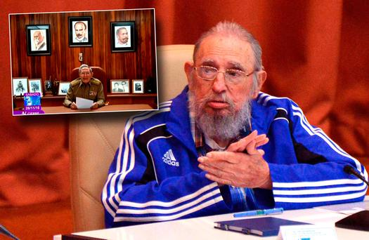 Cuban Former President Fidel Castro and inset brother Raul announcing news of his death