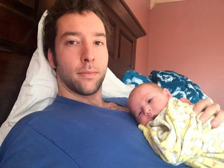 McKay Hutton and his baby daughter, Teagan. Picture: Facebook