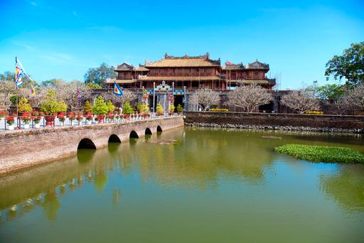 The magnificent walled Imperial City at Hue, built for the Imperial family in the 19th century