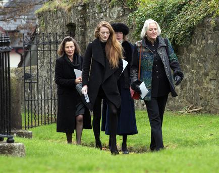 Marchioness Conyngham, far right, with relatives at the funeral of Eileen, Countess of Mount Charles at St. Patrick's Cathedral, Trim Photo: Tony Gavin