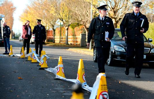 Gardaí in the Moyglare Abbey estate in Maynooth where Kym Owens was assaulted on Sunday evening. Photo: Gerry Mooney