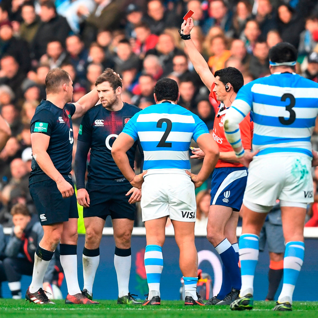 Elliot Daly of England is shown a red card. Photo: Getty