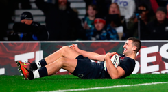 Jonny May celebrates scoring England's second try. Photo: Getty
