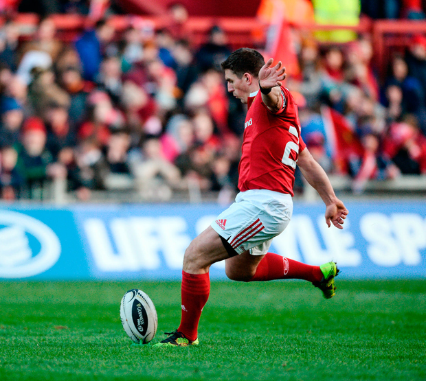 Munster's Ian Keatley kicks a conversion. Photo: Diarmuid Greene/Sportsfile