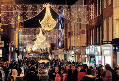 Has Grafton Street at Christmas ever looked less lovely or bleak when you are walking along it and seeing your mother staring back at you in every shop window? Picture: Arthur Carron