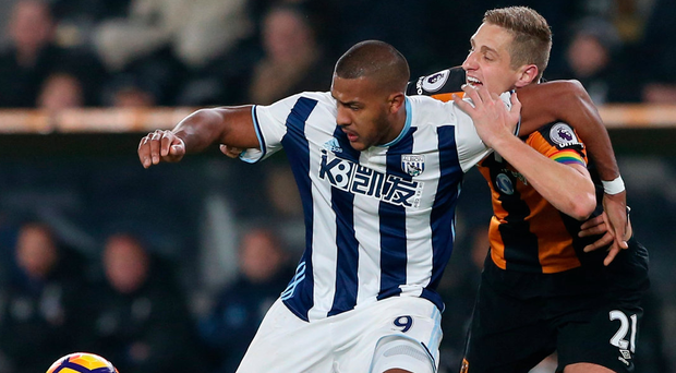 West Brom's Salomon Rondon battles with Hull City's Michael Dawson. Photo: Scott Heppell/Reuters