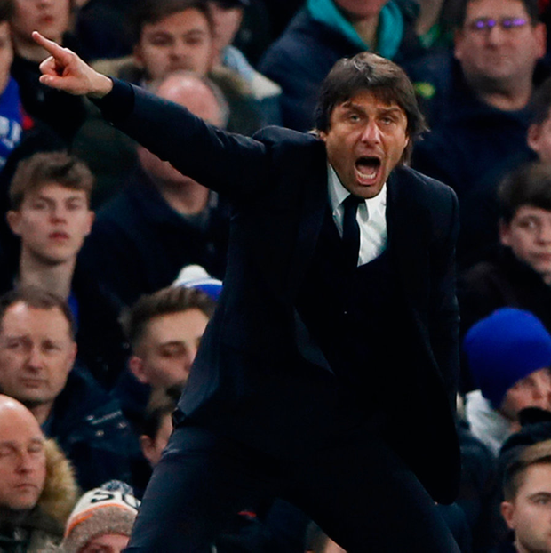 Chelsea manager Antonio Conte in action yesterday