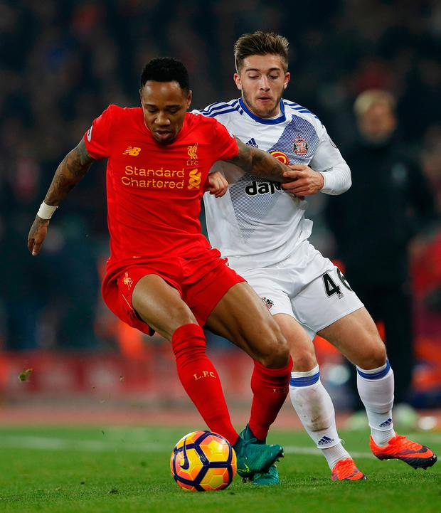 Sunderland's Lynden Gooch in action with Liverpool's Nathaniel Clyne at Anfield. Photo: Lee Smith/Reuters