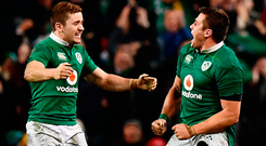 CJ Stander, right, celebrates with Paddy Jackson. Photo: Getty