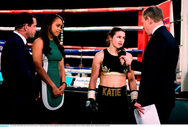 Katie Taylor is interviewed by Sky TV following her Super-Featherweight fight with Karina Kopinska at Wembley Arena in London, England. Photo by Stephen McCarthy/Sportsfile