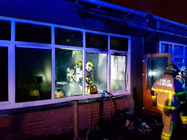 Firefighters from Tallaght and Dolphin's Barn stations tackle blaze at school in Tallaght. Picture: Dublin Fire Brigade