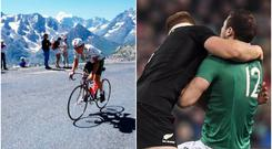 Paul Kimmage during his professional cycling career (left), and Sam Cane tackles Robbie Henshaw during last weekend's clash between Ireland and the All Blacks (right).