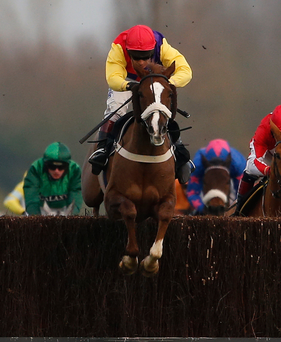 Native River and rider Richard Johnson on their way to landing Saturday's Hennessy. Photo: Alan Crowhurst/Getty Images