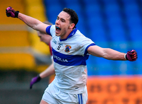 Shane Carthy celebrates scoring St Vincent's second goal in Pearse Park. Photo: Ramsey Cardy/Sportsfile