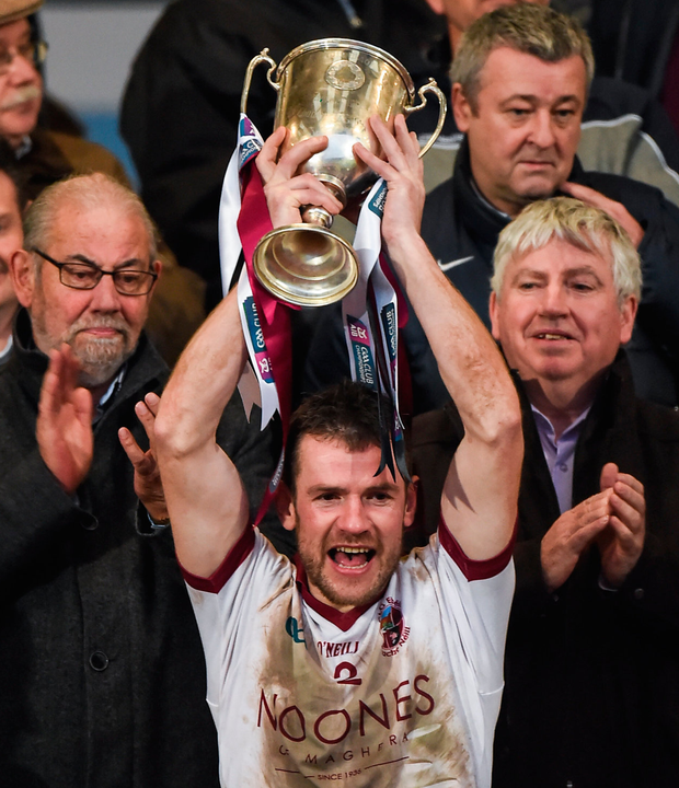 Slaughtneil captain Francis McEldowney lifts the cup after the AIB Ulster GAA Football Senior Club Championship Final game against Kilcoo. Photo: Philip Fitzpatrick/Sportsfile