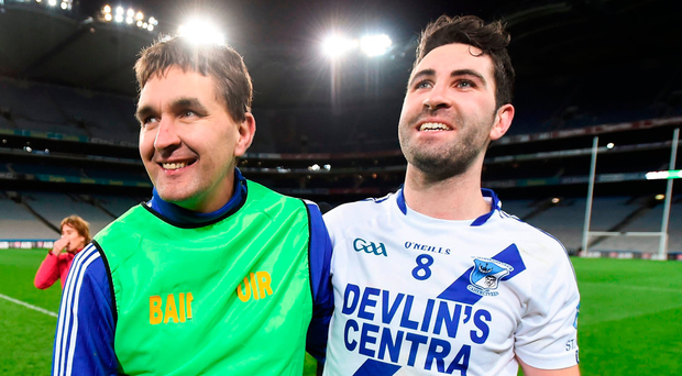 St Mary's manager Maurice Fitzgerald and Bryan Sheehan celebrate their victory in the All-Ireland IFC final in Croke Park earlier this year. Photo: Stephen McCarthy/Sportsfile