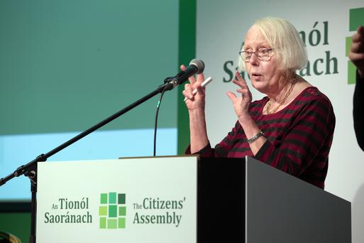 Chair of the Citizens' Assembly, Justice Mary Laffoy, speaks at the Grand Hotel in Malahide, Dublin Photo: Tony Gavin